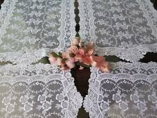 Vintage Chemical Lace Table Runner Set 4 pc Schiffli Net Floral Beautiful
