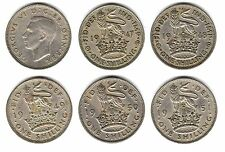 10 x 12d 1s ONE SHILLING George VI 1947 1948 1949 1950 1951 ENGLISH & SCOTTISH a