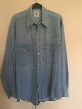 """Vintage """"St Michael"""" Denim Chambray Western Style Shirt With Pearl Poppers Vgc S"""