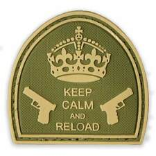 3D PVC Keep Calm & Reload Moral Aufnäher MTP Grün Klettverschluss Verstärkte