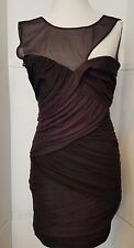BCBG MAXAZRIA Black Bandage Dress Shoulder Mesh Ruched Sleeveless sz M medium