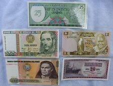 5 Laminated Currency Paper Money Bills Bookmarks  Peru Zambia Suriname