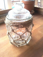 French Provincial Small Air Tight Candy Jar Shabby Chic Ribbed Glass Jute 250 mL