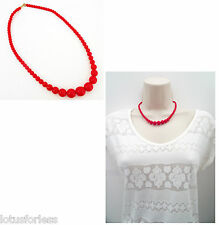 "Retro Graduated Cherry Red Bead Necklace Venetian Glass 16"" Long"