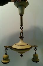 Vintage Art Deco Chandelier Pan 2 Arm Ceiling Light Fixture