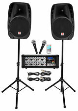 "Rockville RPG2X15 Package PA System Mixer/Amp+15"" Speakers+Stands+Mics+Bluetooth"
