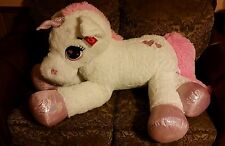 "52"" UNICORN, Big Plush, White Pink Stuffed Animal Giant ** SO CUTE** RARE**"