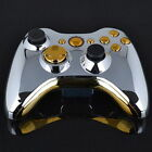 Chrome Silver modded Full Shell Gold Buttons for Xbox 360 Wireless Controller PW