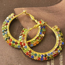 Around Multi-Color Crystal 9K Yellow Gold Filled Womens Hoop Earrings F6159