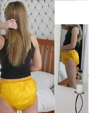 PLASTIC ADULT DIAPER PANTS,  BIKINI STYLE,  XL AMBER  ABDL, ADULT BABY