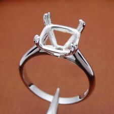 10x10MM CUSHION SILVER PLATED W/G SEMI-MOUNT SOLITAIRE SETTING ENGAGEMENT RING