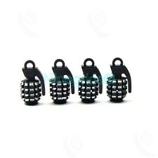 4 x Black Grenade Bomb Exterior Wheel Tyre Tire Valve Stems Air Dust Cover Caps