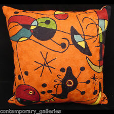 "Contemporary Modern Joan Miro Inspired Knife Edge Throw Toss Pillow 18"" Square"