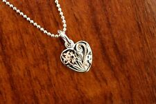 New Hawaiian Jewelry 925 Sterling Silver Scroll Heart Pendant Necklace ESP3059