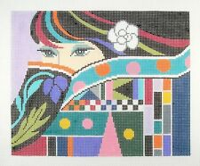LEE The Lady with Mysterious Eyes handpainted HP Needlepoint Canvas 13 mesh