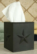 New Primitive Country Farmhouse BROWN STAR TISSUE BOX COVER Metal Kleenex Holder