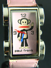 PAUL FRANK LADIES  WATCH/ PINK FACE& BAND/SILVER TONE BEZEL