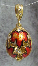 Pysanka, Easter Egg Pendant, Canadian Maple Leaf Symbol, Sterling Silver