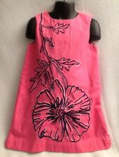 LILLY PULITZER $84 Pink Shift Dress w Navy Flower Girls Sz 5 Sheath A-Line Lined