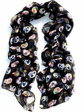 NEW Large Fashion Black Sugar Skull Punk Womens Long Scarf Shawl USA SHIP