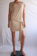 Haute Hippie Beige Short Sleeve Open Back Cocktail Mini Dress With Belt