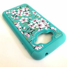 For Samsung Galaxy J3 J320 - HYBRID IMPACT DIAMOND BLING CASE BLUE PINK FLOWERS