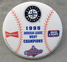 "SEATTLE MARINERS 1995 American League West CHAMPIONS 3"" baseball pinback button"
