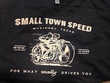 Small BLACK heathered SMALL TOWN SPEED vintage style race Tee shirt. S XS