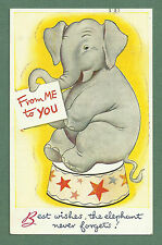 """LOVELY 1947 """"BEST WISHES"""" PC ELEPHANT SITTING ON STOOL - ARTIST DRAWN"""