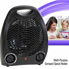 Portable Space Heater Electric Home Fan Compact Quiet, Adjustable Thermostat