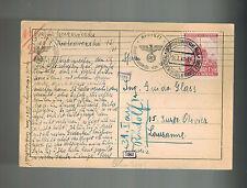 1941 Prague Bohemia Moravia Postcard Cover to Guido Glass Switzerland Maildrop