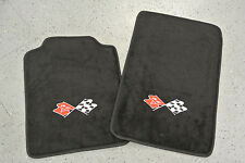1997-2004 Chevrolet Corvette C5 2 Piece Floor Mats Set Crossed Flags Embroidery