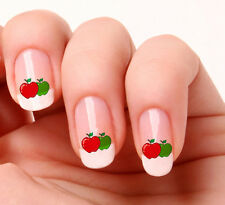 20 NAIL ART ADESIVI trasferimenti Decalcomanie # 559-Carino Red & Green Apple PEEL & STICK