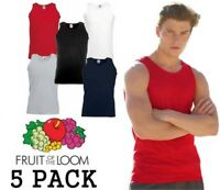 5 MENS FRUIT OF THE LOOM VESTS, CHOOSE YOUR PACK COLOUR & SIZE