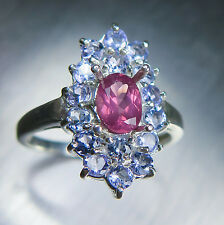0.70cts Natural pink red spinel oval cut & tanzanites 925 sterling silver ring