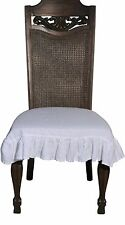 Stone Washed Linen Chair Seat Cover with Ruffle in White
