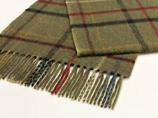 Luxury lambswool scarf  Dales Collection Litton windowpane lovat green check
