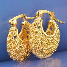 Vintage 9K Yellow Gold Filled Women's Hoop Earrings,20mm,F2529
