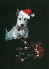 ACEO PRINT OF PAINTING SCOTTISH TERRIER SCOTTIE RYTA CHRISTMAS SANTA CLAUS ART