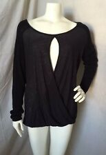 Lab Works Black Rayon Wide Neck Draped Open Front Long Sleeve Sweater XL NWOT