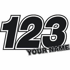 3 x Custom Race Numbers Stickers Name Vinyl Dirt Bike Motocross Trials Decals