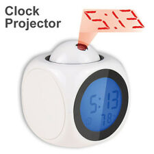 LED Display Talking Projection Clock Alarm Time Digital Thermometer Gadget Table