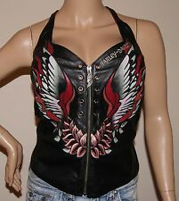 WOMENS RARE SEXY LEATHER HARLEY DAVIDSON FULL ZIP HALTER TOP Sz LARGE PREOWNED