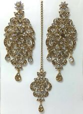 New Bollywood Indian Costume Jewellery Earring Tikka Kundan Gold Bronze White
