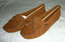 Minnetonka 402 Size 6.5 Women's Kilty Hardsole Hard Sole Moccasin BROWN SUEDE