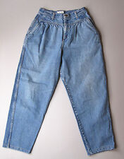 Vintage High Waisted Mom Jeans Pleated Tapered Leg Short Blue 12 Denim 27""