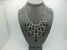 FABULOUS WHITE HOUSE BLACK MARKET SILVER TONE BLACK BEAD WATERFALL NECKLACE