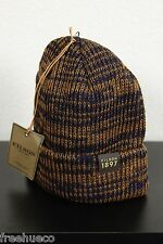 FILSON 100% Wool Watch Cap Hat -Navy Blue/Brown -One Size $45