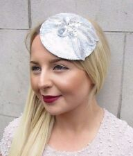 Silver Grey Sequin Fascinator Hat Races Headpiece Hair Clip Vintage Wedding 2714