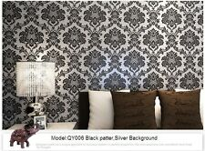 10M Vintage Classic Black&sillver French Modern Damask Feature Wallpaper Roll